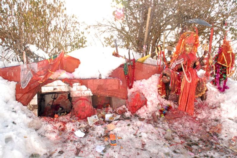 Pathibhara covered in Snow